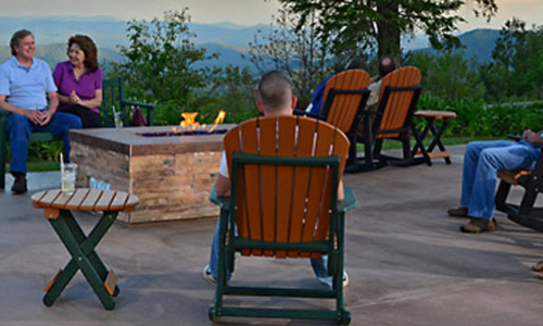 Evenings at the fire pit at Switzerland Inn NC